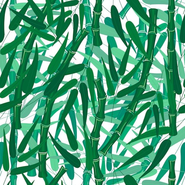 Textuur van het bamboe de bos naadloze patroon op witte achtergrond met de stenambamboe van bladerentakken Premium Vector