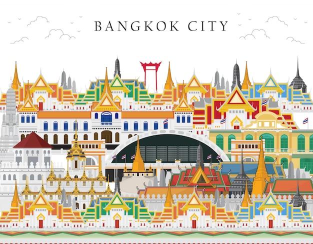 Thailand, bangkok in thailand met aantrekkelijkheden, oriëntatiepunt Premium Vector