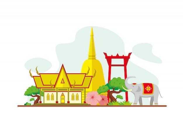 Thailand beroemde bezienswaardigheden achtergrond Premium Vector