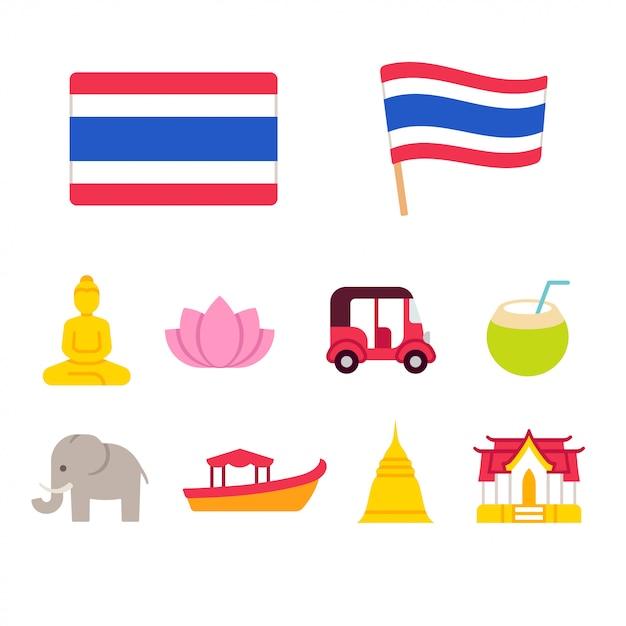 Thailand cartoon iconen set Premium Vector