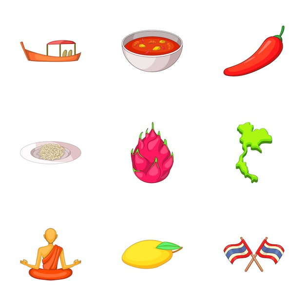 Thailand dag set, cartoon stijl Premium Vector