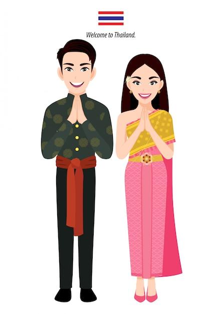 Thailand man en vrouw in klederdracht, thaise mensen groet