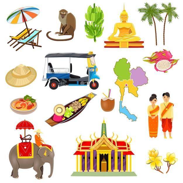 Thailand pictogrammen instellen Gratis Vector