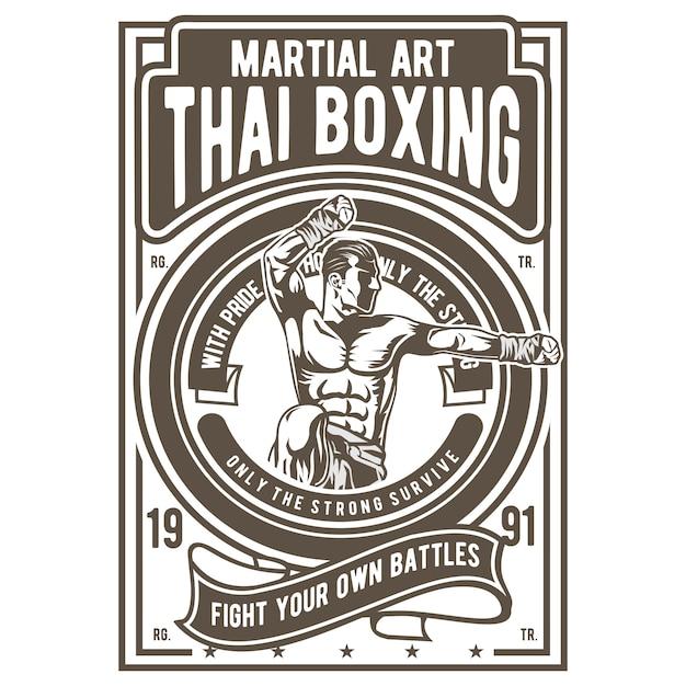 Thais boxen Premium Vector