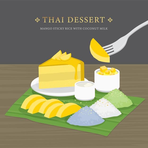 Thais dessert, mango en kleefrijst met kokosmelk en mangosaus. cartoon afbeelding Premium Vector