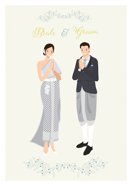 Thais paar in traditioneel lichtblauwgrijs donker kostuum en de uitnodigingsmalplaatje van het kledingshuwelijk Premium Vector