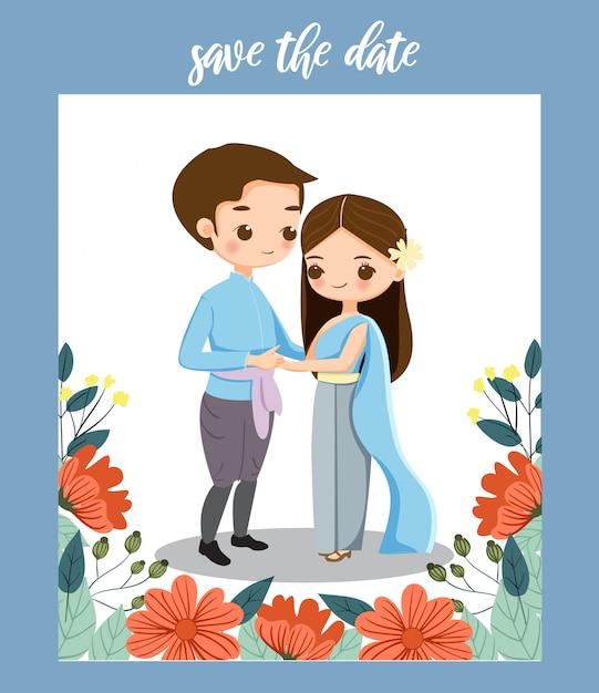 Thais paar voor de kaart van huwelijksinitites Premium Vector