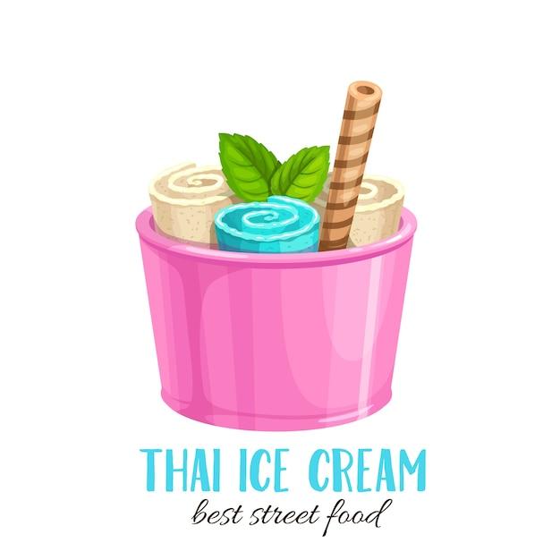 Thais roomijsbroodje met wafel. cartoon platte pictogram zomer verfrissend dessert Premium Vector