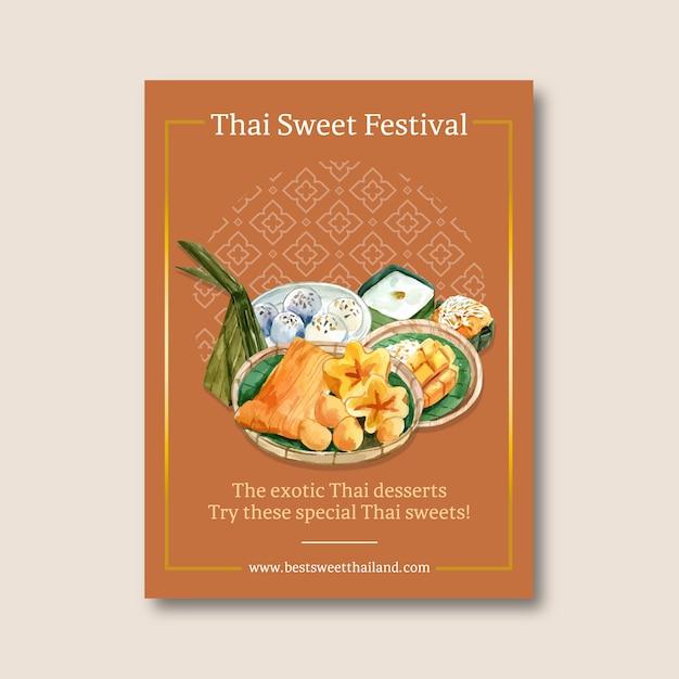 Thais zoet afficheontwerp met gouden draden, de waterverf van de puddingsillustratie. Gratis Vector