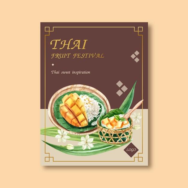 Thais zoet afficheontwerp met kleverige rijst, mango, de waterverf van de jasmijnillustratie. Gratis Vector