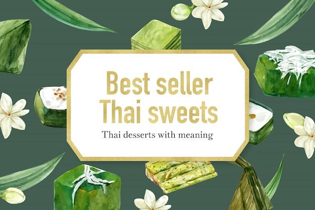 Thais zoet bannermalplaatje met diverse thaise waterverf van de puddingenillustratie. Gratis Vector