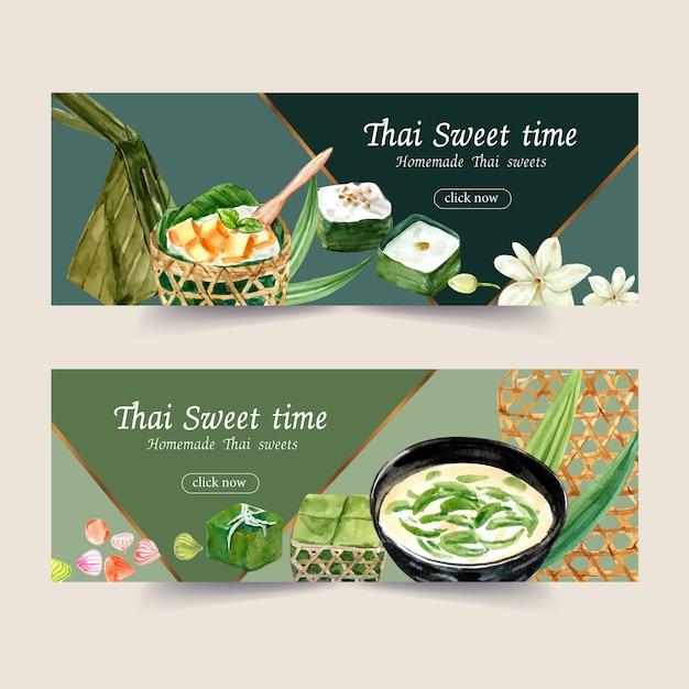 Thais zoet bannerontwerp met de thaise illustratie van de puddingswaterverf. Gratis Vector