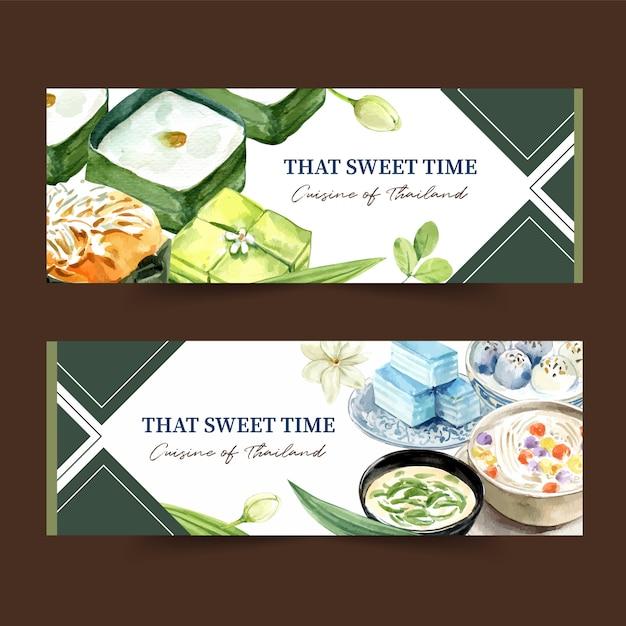 Thais zoet bannerontwerp met pudding, de gelaagde illustratie van de geleiswaterverf. Gratis Vector