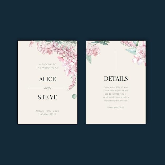 Thaise bloemen bruiloft kaart ontwerp Gratis Vector