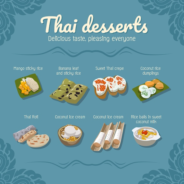 Thaise desserts voedsel vector set collectie Premium Vector