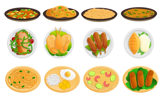 Thaise geplaatste voedselpictogrammen, beeldverhaalstijl Premium Vector