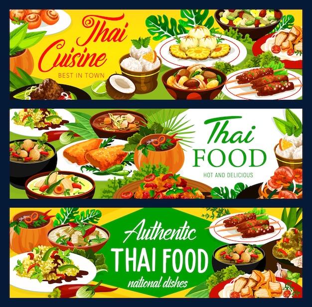 Thaise gerechten gerechten banners. thaise keuken curry en ijs, kip met groenten, rijst en vis, gembergarnalen, varkenssaté en bananen in kokosvlokken, gebakken pompoensoep en pittige soep Premium Vector