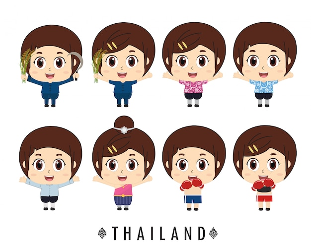 Thaise kinderen traditionele klederdracht. Premium Vector