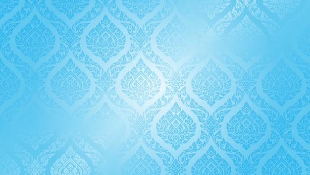 Thaise patroon opperste blauwe achtergrond Premium Vector
