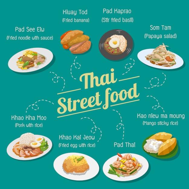 Thaise straatvoedsel vector set collectie Premium Vector