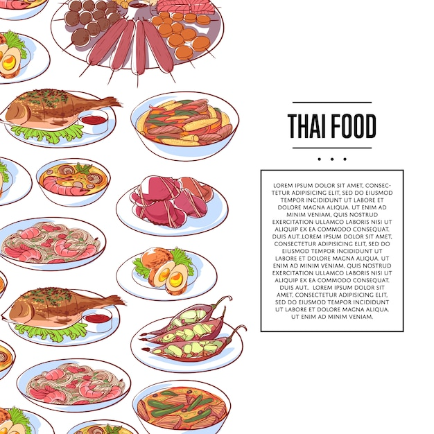 Thaise voedselaffiche met aziatische keukenschotels Premium Vector