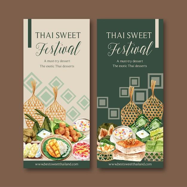 Thaise zoete banner met kleverige rijst, mango, pudding aquarel illustratie. Gratis Vector