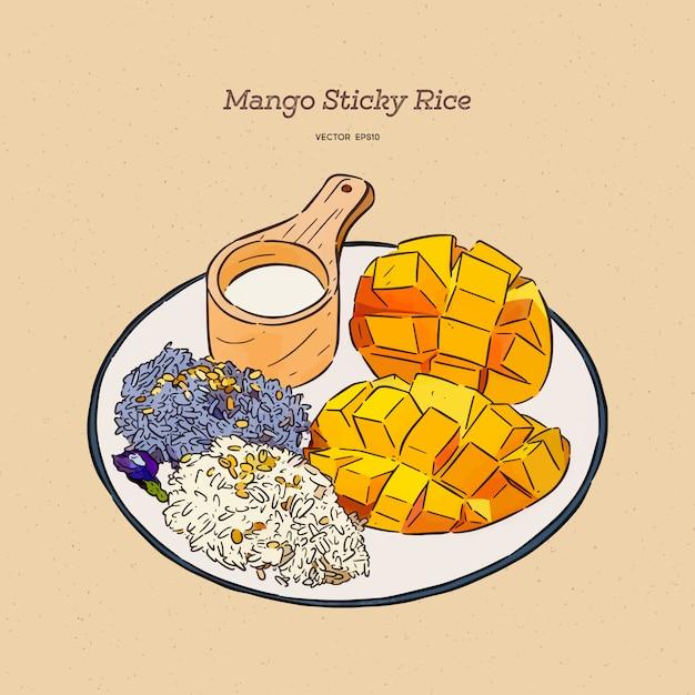 Thaise zoete kleefrijst met mango, hand tekenen schets. Premium Vector