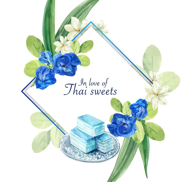 Thaise zoete krans met erwt bloemen, jasmijn, gelaagde gelei illustratie aquarel. Gratis Vector