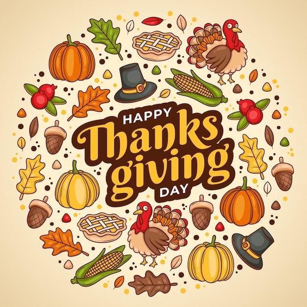 Thanksgiving achtergrond hand getekend ontwerp Gratis Vector