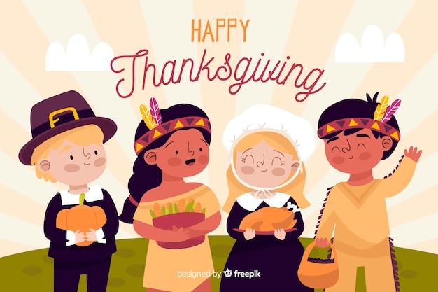 Thanksgiving achtergrond in de hand getekend Gratis Vector