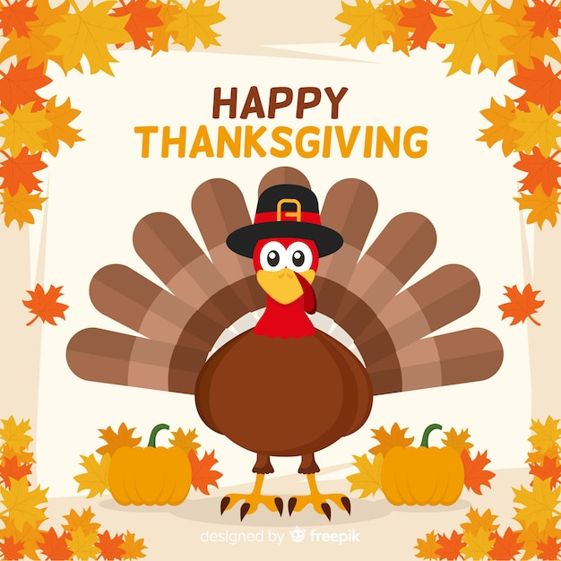 Thanksgiving achtergrond in plat ontwerp Gratis Vector