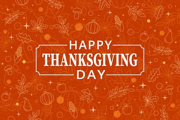 Thanksgiving achtergrond in plat ontwerp Premium Vector