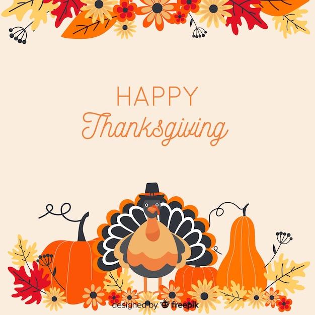 Thanksgiving achtergrond in platte desgin Gratis Vector
