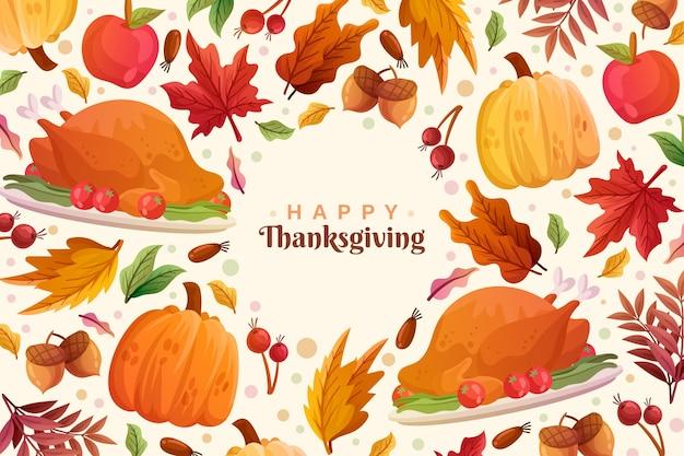 Thanksgiving achtergrond met kalkoen Gratis Vector