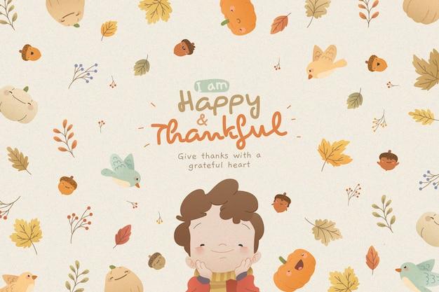 Thanksgiving achtergrond met kind Gratis Vector