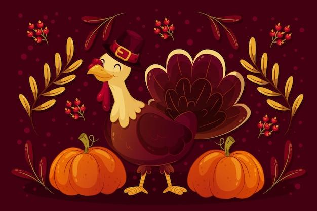 Thanksgiving achtergrond met smiley turkije Gratis Vector