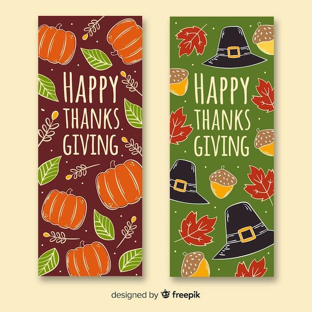 Thanksgiving banners handgetekende concept Gratis Vector