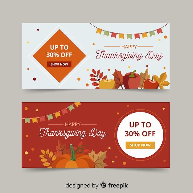 Thanksgiving banners in plat ontwerp Gratis Vector