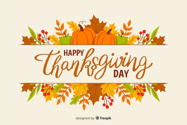 Thanksgiving behang handgetekende concept Gratis Vector