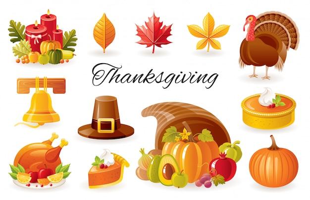 Thanksgiving cartoon pictogrammen. herfst festival ingesteld met turkije, pompoen, hoorn des overvloeds, taart, pelgrim hoed. Premium Vector