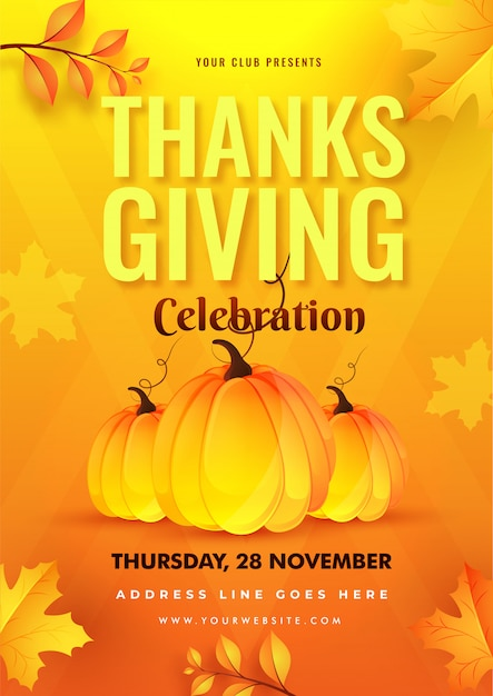 Thanksgiving celebration sjabloon of folder met pompoenen en herfstbladeren ingericht op geel en oranje. Premium Vector