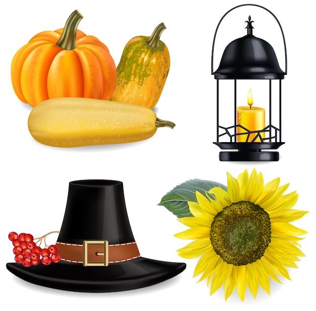 Thanksgiving-collectie Premium Vector