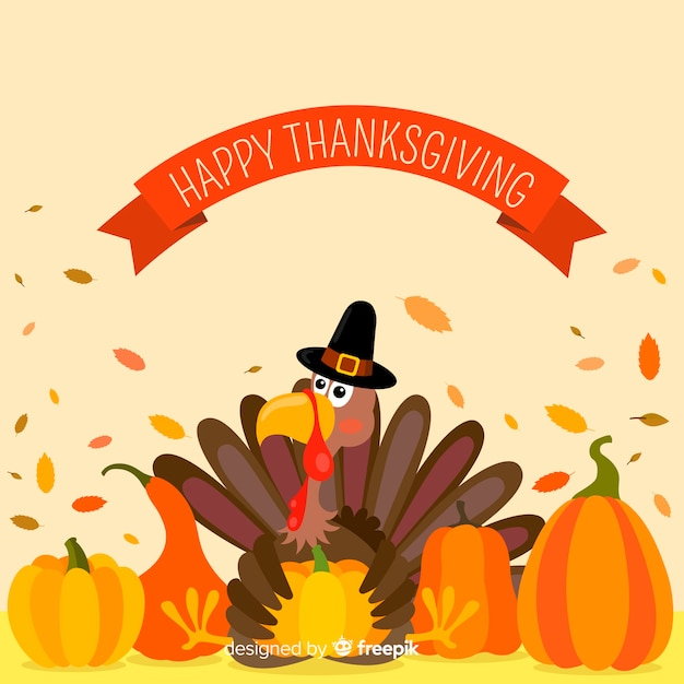Thanksgiving-concept in plat ontwerp Gratis Vector