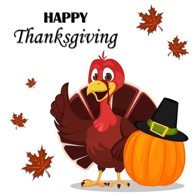 Thanksgiving dag. de vogel die van turkije zich dichtbij pompoen bevindt Premium Vector