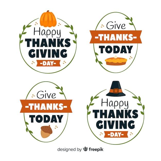 Thanksgiving day badge collectie concept Gratis Vector