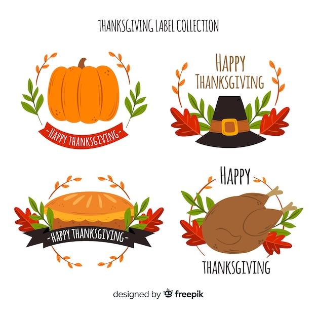 Thanksgiving day badge collectie ontwerp Gratis Vector