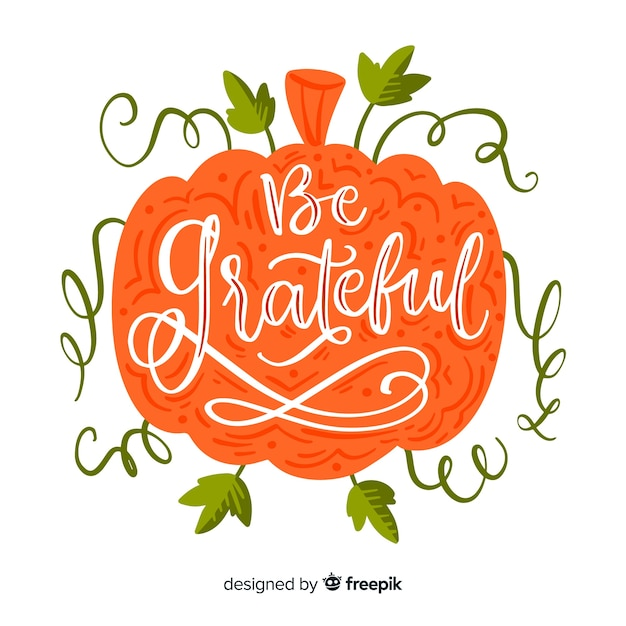 Thanksgiving day belettering concept Gratis Vector