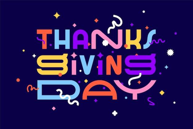 Thanksgiving day. dank je. spandoek, poster en sticker, geometrische stijl met tekst thanksgiving day. Premium Vector
