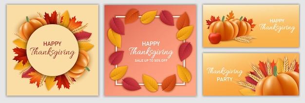 Thanksgiving day festival banner set Premium Vector