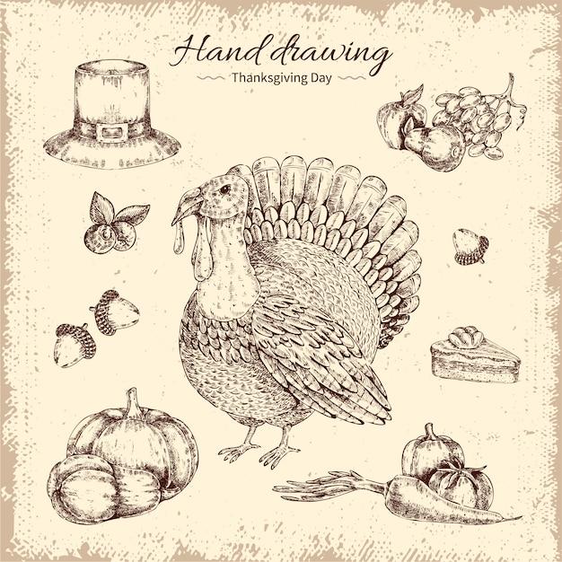Thanksgiving day hand getrokken illustratie Gratis Vector